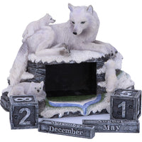Mother's Watch White Wolf and Pups Calendar 13cm Ornament
