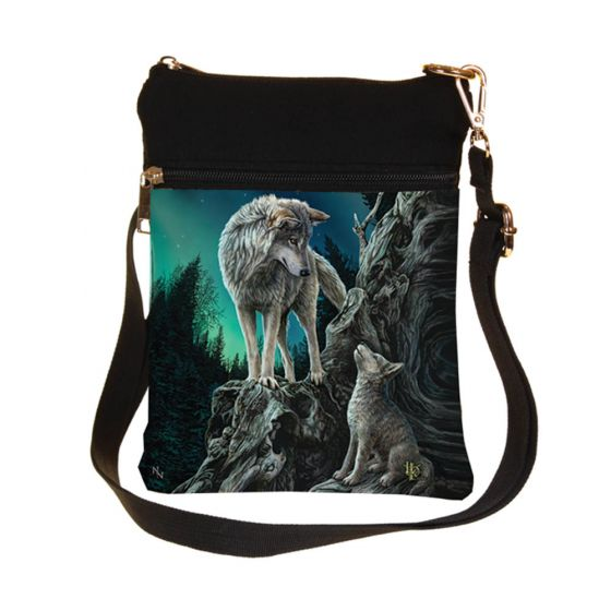 Small Guidance Wolf and Pup Shoulder Bag by Lisa Parker 23cm
