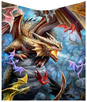 Dragon Clan Throw Blanket Design by Anne Stokes 160cm