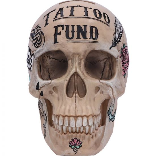 Natural Bone Coloured Traditional, Tribal Tattoo Fund Skull Money Box