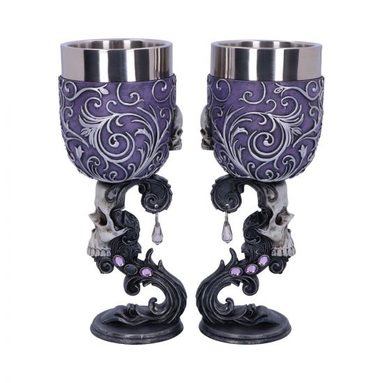 Deaths Desire Twin Skull Heart Set of Two Goblets 18.5cm