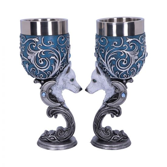 Wild at Heart Twin Wolf Heart Set of Two Goblets 18.5cm