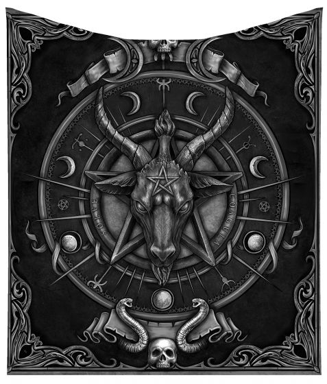 Pre-order 160cm Baphomet Triple Horn Sabbatic Goat Throw Blanket