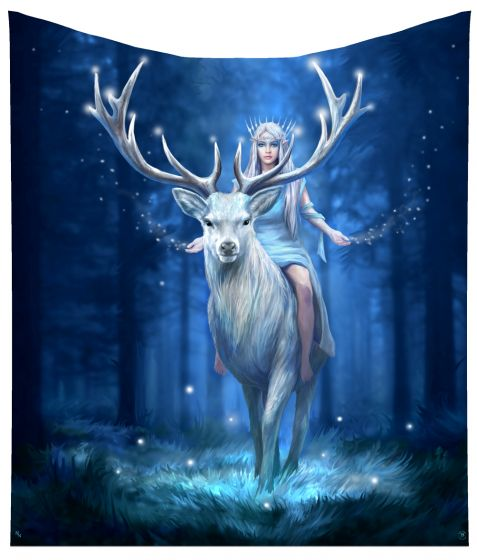 Anne Stokes Fantasy Forest Elven Queen Stag Throw Blanket 160cm