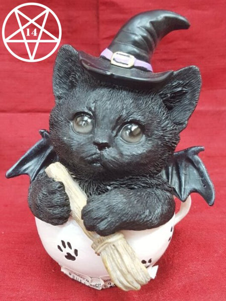 Kit-Tea Novelty Tea Cup Witch Cat Figurine 11.5cm