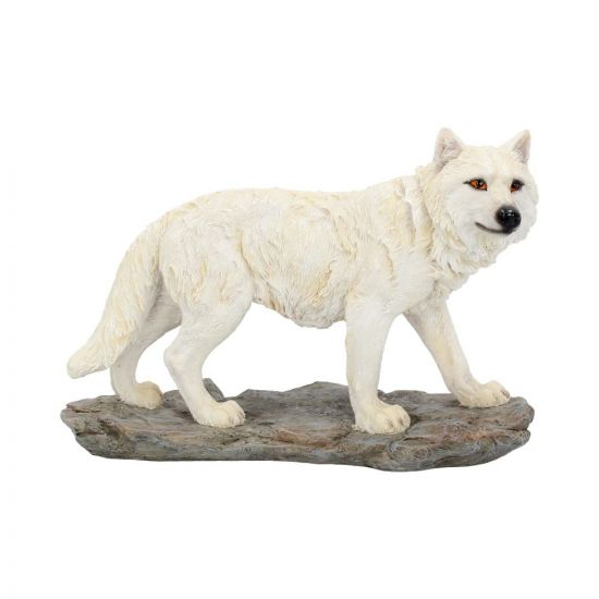 Mountain Watcher White Wolf Ornament Figurine 21cm