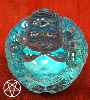 Coloured Glass Buddha Paperweight Figurine Blue