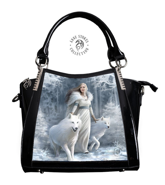 Winter Guardian Wolf Handbag design by Anne Stokes