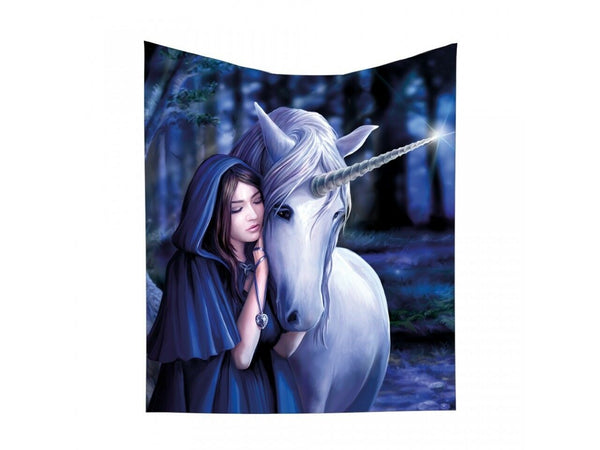 Solace Unicorn Throw Blanket Design by Anne Stokes 160cm