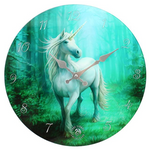 Forest Unicorn Glass Wall Clock design by Anne Stokes 34cm