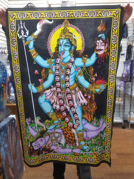 Goddess Kali Cotton Wall Hanging with sequins