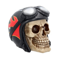 Hell Fire Biker Flame Helmet Skull Ornament 15cm