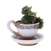 Green Dracuccino Dragon Teacup Figurine 11.3cm