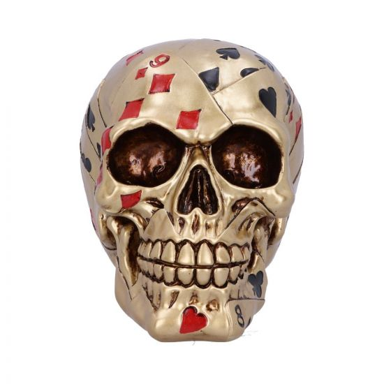 Dead Mans Hand Golden Playing Card Skull Ornament 15cm