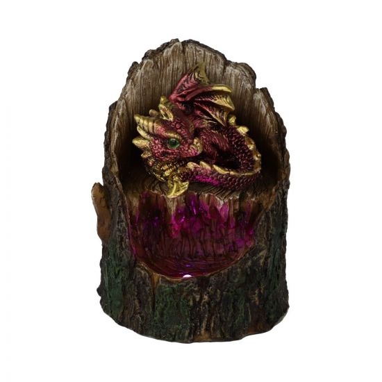 10.8cm Arboreal Hatchling Red Dragon in Tree Trunk Light Up Figurine