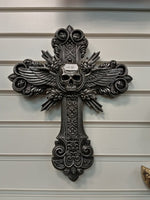 Spiral Crucifix Cross Skull and Wings Wall Plaque 32.5cm