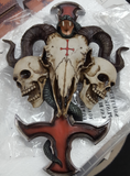 James Ryman Devils Cross Ram's Skull Petrine Cross Wall Plaque 30.5cm