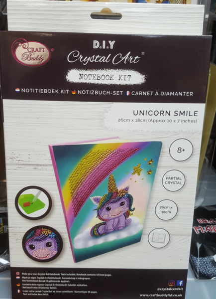 """Unicorn Smile"" Crystal Art Notebook Kit, 26 x 18cm"