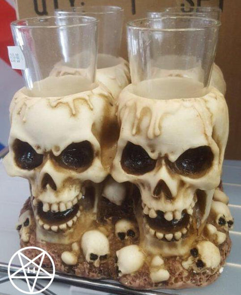 Skull Shot Glass holder with 4 Shot Glasses