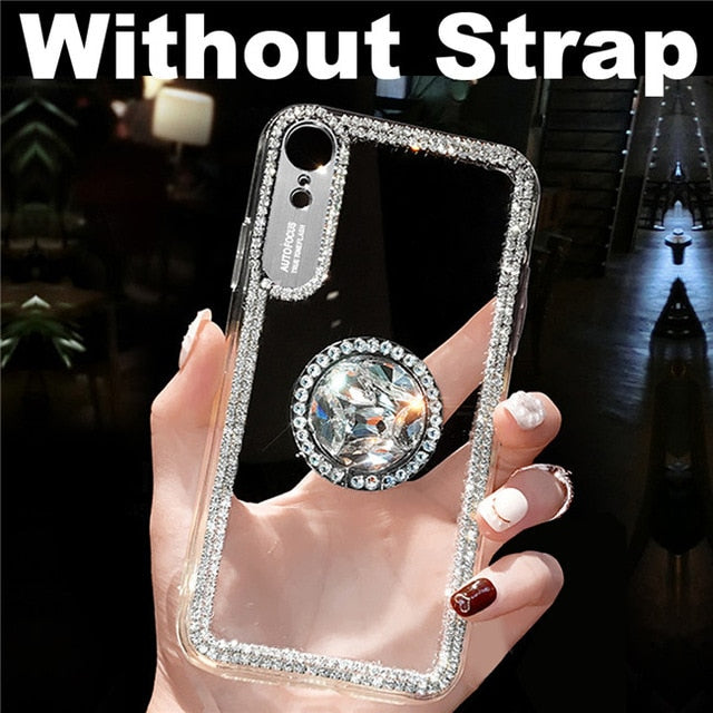 Glitter With Finger Ring Case For iPhone