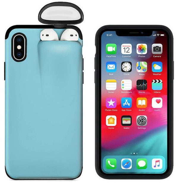 2-In-1 Iphone Airpod Case skype blue color