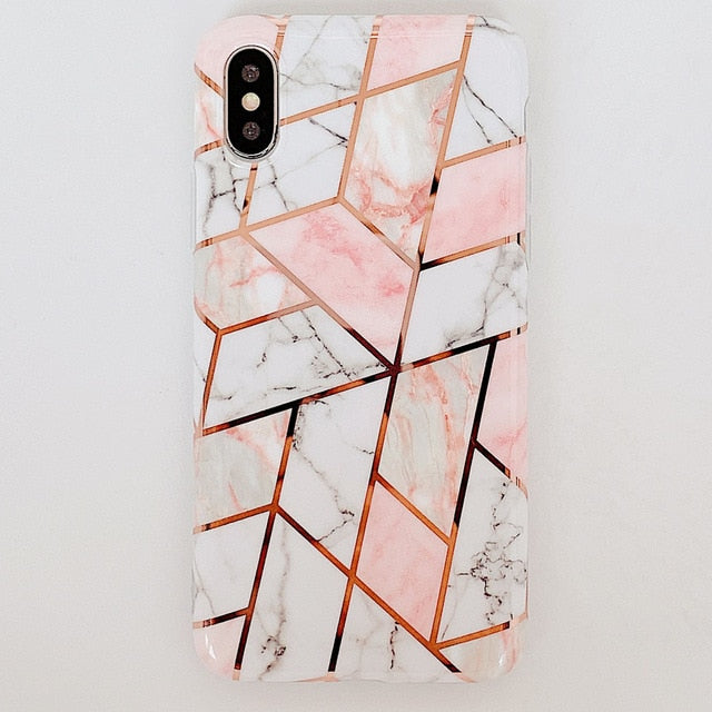 Plating Geometric Marble iPhone Case