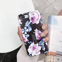 Marble Flower Flamingo Loop Ring Cover For iPhone