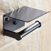 Toilet Paper Holder with Shelf Black Wall