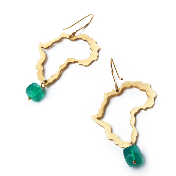 Gold Africa & Jade earrings