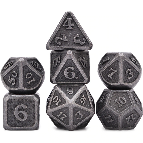Ancient Dragon Scales Metal Dice 7pcs Set with Pouch
