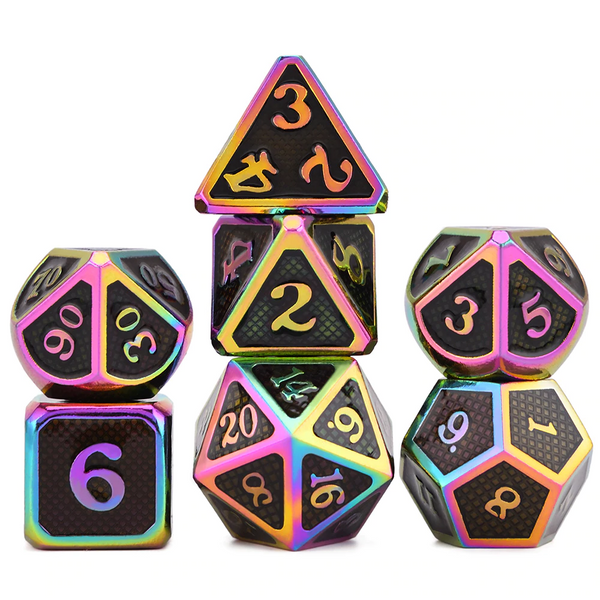 Dragon Scales Metal Dice 7pcs Set - Chameleon