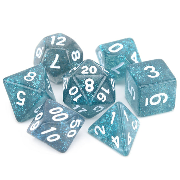Glitter Dice 7pcs Set With Pouch