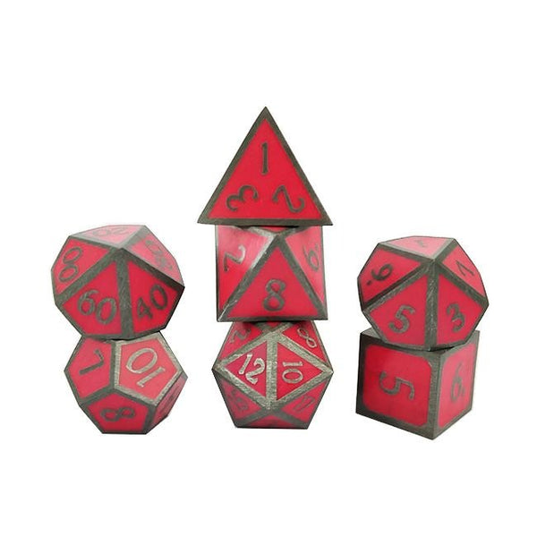 Glow-In-The-Dark Metal Dice 7pcs Set