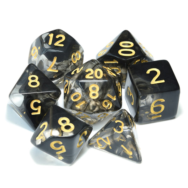 Double Colour Transparent Dice 7pcs Set With Pouch