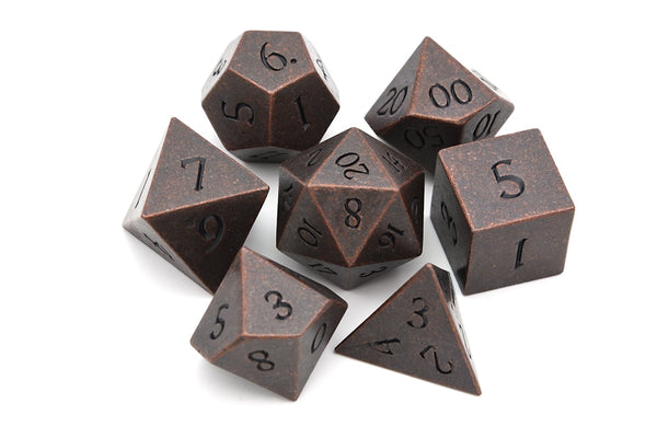 Ancient Copper Metal Dice 7pcs Set