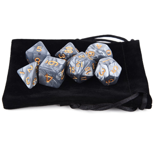 Marble Colours Dice 7pcs Set With Pouch