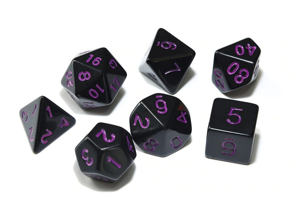 D&D Dice 7pcs Set - Opaque Black with Inverted Colours