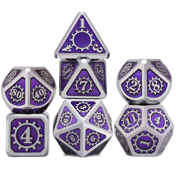 Mechanical Cog Metal Dice 7pcs Set with Pouch