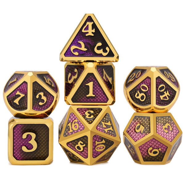 Dragon Scales Metal Dice 7pcs Set - Dragons