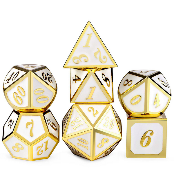 Premium Colour Metal Dice 7pcs Set with Pouch