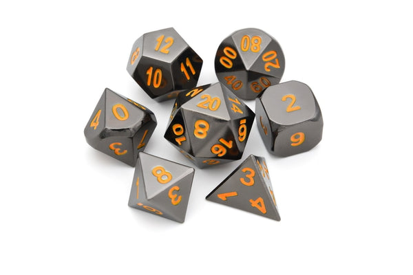 Sci-Fi Chrome Metal Dice 7pcs Set with Pouch