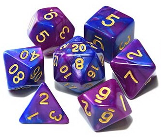 D&D Dice 7pcs Set - Mixed Colour w/Pouch