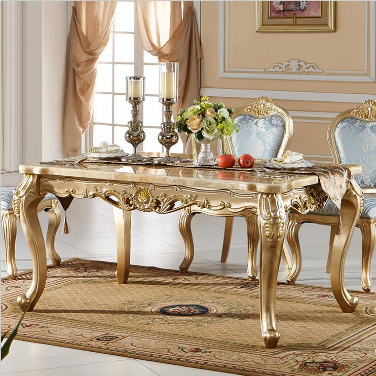 Antique Style Italian Dining Table, 100% Solid Wood Italy Style Luxury  Dining Table Set natrual marble modern p10096