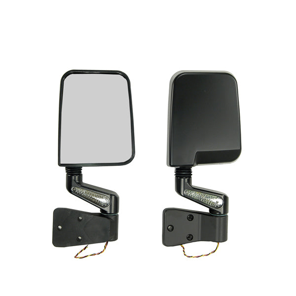 Door Mirror Kit, LED Turn Signals, Black; 87-02 Jeep Wrangler YJ/TJ - 11015.01