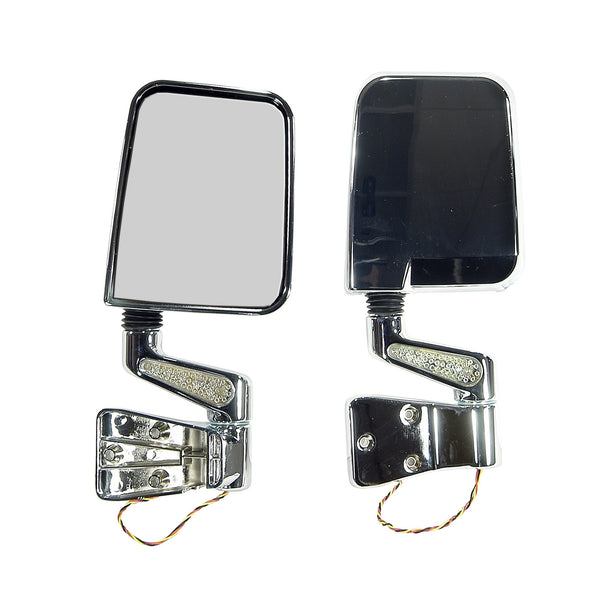 Door Mirror Kit, LED Turn Signals, Chrome; 87-02 Jeep Wrangler - 11016.01