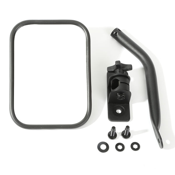 Quick Release Mirror, Rectangular, Textured Black; 97-18 Jeep Wrangler - 11025.14