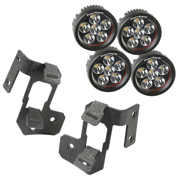 Light Mount Kit, A-Pillar, Textured Black, Round LED; 07-18 Jeep Wrangler JK - 11232.34
