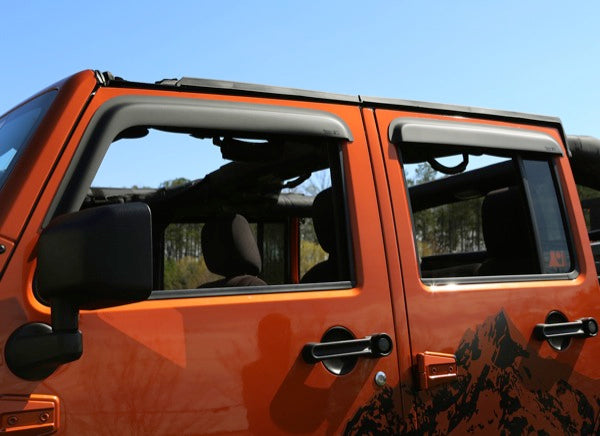 Window Visor Kit, Matte Black; 07-18 Jeep Wrangler JK, 4 Door - 11349.12
