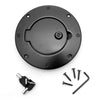 Gas Cap Door, Locking, Black Aluminum; 97-06 Jeep Wrangler TJ - 11425.08