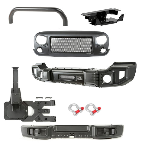 Spartacus Bumper Kit, Over-Rider/Tire Carrier/Grille; 07-18 Wrangler - 11544.64